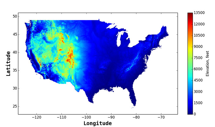 caption=A color plot showing elevation values for the contiguous United States. Source data derived from the USGS digital elevation model, which features validated elevation data at 10-meter intervals—resulting in about 800 billion data points.