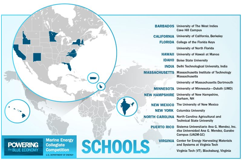 Marine Energy Collegiate Competition Teams Map