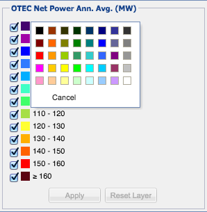 OTEC Net Power layer legend with color swatch enabled