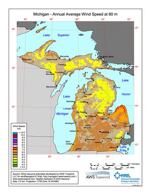 Michigan Annual Average Wind Speed at 80 Meters