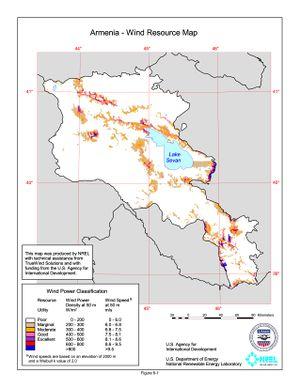 Armenia - 50m Wind Resource Map