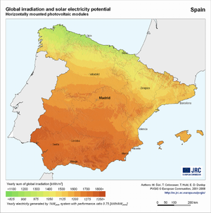 Spain global irradiation and solar electricity potential (horizontally-mounted photovoltaic modules)