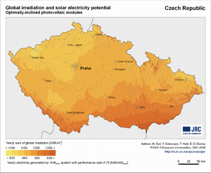 Czech Republic global irradiation and solar electricity potential (optimally-inclined photovoltaic modules)