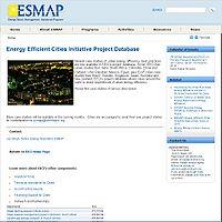 Energy Efficient Cities Initiative Project Database Screenshot