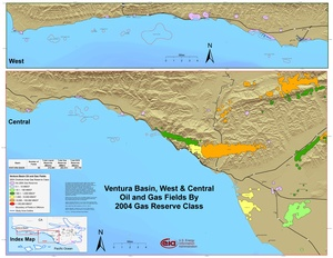 Ventura Basin, West and Central Parts By 2001 Gas Reserve Class