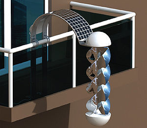 The Greenerator can be mounted to a balcony, as shown