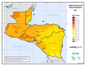 Central America - May Global Horizontal Solar Radiation