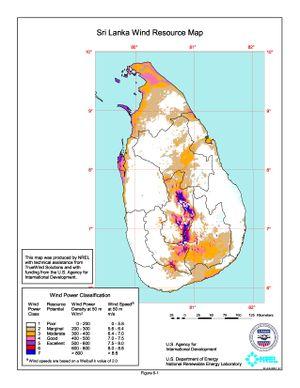 Sri Lanka Wind Resource Map