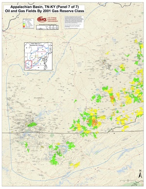 Appalachian Basin, Kentucky and Tennessee By 2001 Gas Reserve Class