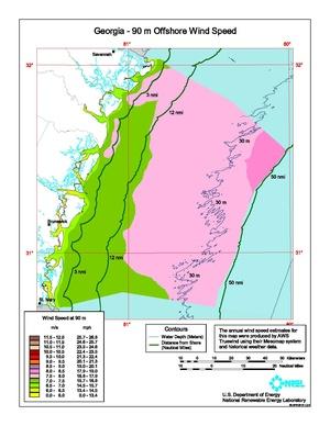 Georgia - 90 Meter Offshore Wind Speed