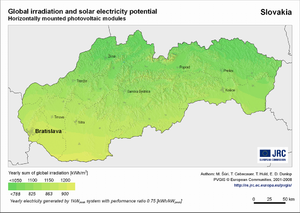 Slovakia global irradiation and solar electricity potential (horizontally-mounted photovoltaic modules)