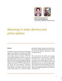 Bioenergy in India: Barriers and Policy Options Screenshot