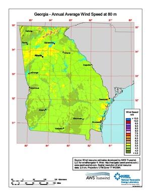Georgia Annual Average Wind Speed at 80 Meters