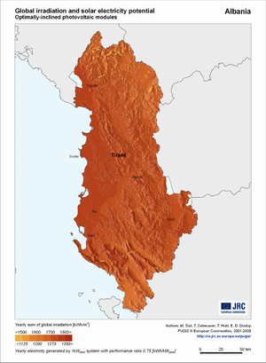 Albania global irradiation and solar electricity potential (optimally-inclined photovoltaic modules)