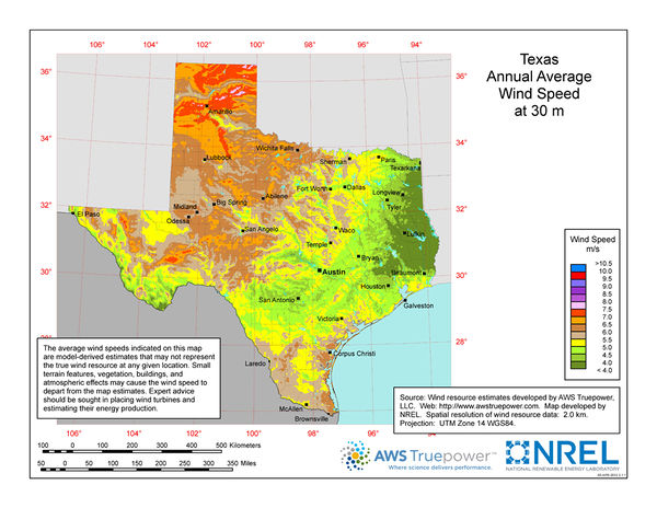 Texas Wind Resources Open Energy Information
