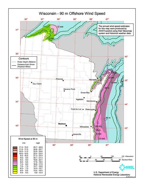 Wisconsin 90m Offshore Wind Speed