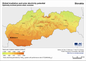 Slovakia global irradiation and solar electricity potential (optimally-inclined photovoltaic modules)