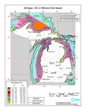 Michigan 90m Offshore Wind Speed