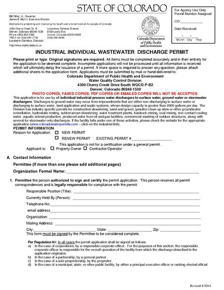 File:CDPHE Industrial Individual Wastewater Discharge Permit Application.pdf