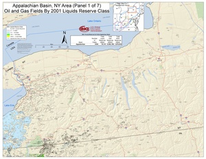 Appalachian Basin, New York Area Oil and Gas Fields By 2001 Liquids Reserve Class