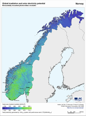 Norway global irradiation and solar electricity potential (horizontally-mounted photovoltaic modules)