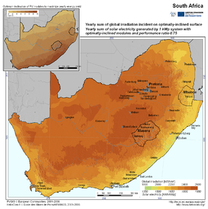 Global Irradiation Incident on Optimally-Inclined Surface in South Africa