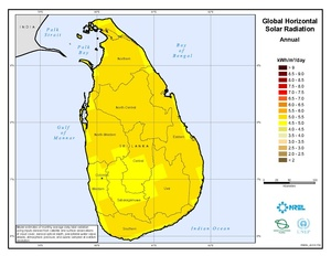 Solar: monthly and annual average global horizontal (GHI) GIS data at 40km resolution for Sri Lanka from NREL