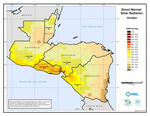 Central America - October Direct Normal Solar Radiation