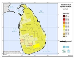 Solar: monthly and annual average direct normal (DNI) GIS data at 40km for Sri Lanka from NREL