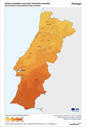 Portugal global irradiation and solar electricity potential (horizontally-mounted photovoltaic modules)
