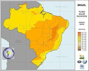 Mapa de recurso solar en Brazil