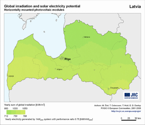 Latvia global irradiation and solar electricity potential (horizontally-mounted photovoltaic modules)