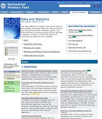 International Monetary Fund-Data and Statistics Screenshot