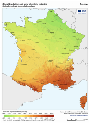 France global irradiation and solar electricity potential (optimally-inclined photovoltaic modules)
