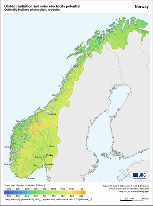 Norway global irradiation and solar electricity potential (optimally-inclined photovoltaic modules)