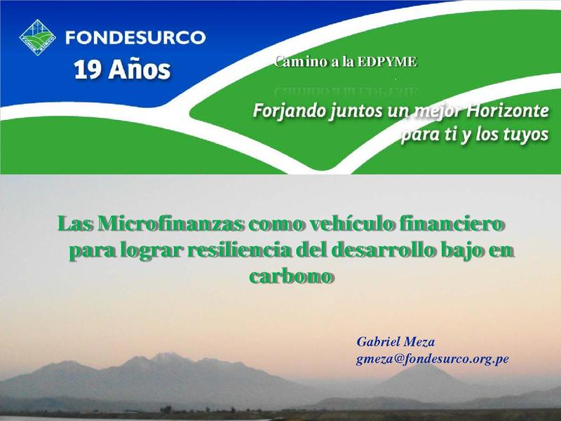 File:Gabriel Meza - Las Microfinanzas como vehículo financiero para lograr resiliencia del desarrollo bajo en carbono.pdf