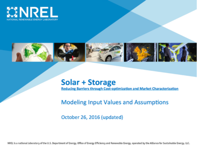 NREL Solar+Storage Modeling Input Assumptions