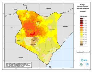 Kenya Annual Direct Normal Solar Radiation