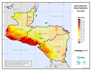 Central America - December Direct Normal Solar Radiation