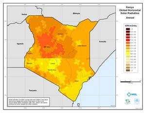 Kenya Annual Global Horizontal Solar Radiation