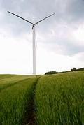 Wind turbine on a field of grass