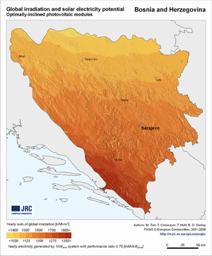 Bosnia and Herzegovina global irradiation and solar electricity potential (optimally-inclined photovoltaic modules)