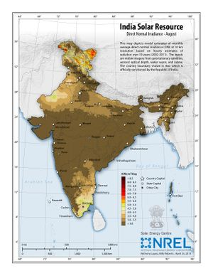 India Solar Resource - Direct Normal Irradiance - August