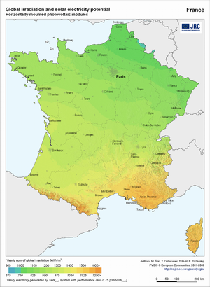 France global irradiation and solar electricity potential (horizontally-mounted photovoltaic modules)