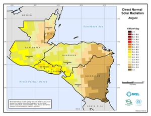 Central America - August Direct Normal Solar Radiation
