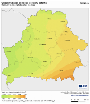 Belarus global irradiation and solar electricity potential (optimally-inclined photovoltaic modules)