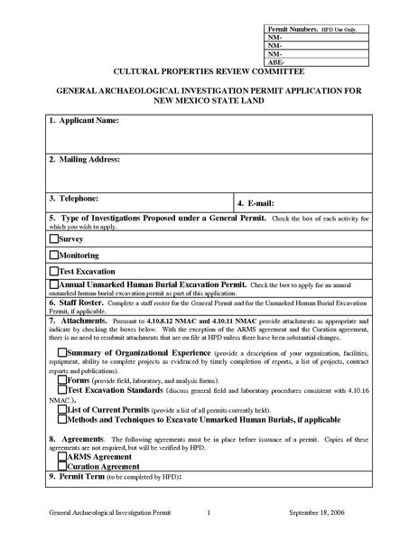 File:General Archaeological Investigatoin Permit Application for New Mexico State Land.pdf
