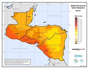 Central America - March Global Horizontal Solar Radiation