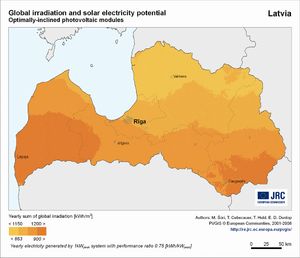 Latvia global irradiation and solar electricity potential (optimally-inclined photovoltaic modules)