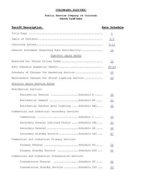 File:Utility Rate Denver psco elec entire tariff.pdf